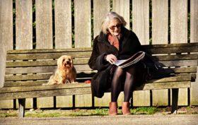 chien et personne âgée